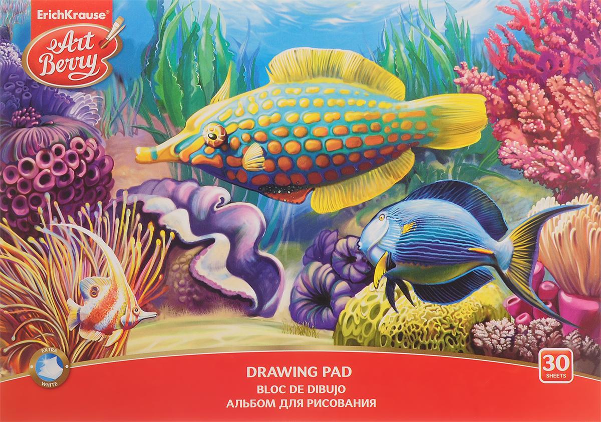 Erich Krause Альбом для рисования Рыбки и ракушки 30 листов35163_синяя рыбка и ракушкаАльбом для рисования Erich Krause с изображением подводного царства непременно порадует маленького художника и вдохновит его на творчество. Высокое качество бумаги позволяет карандашам, фломастерам и краскам ровно ложиться на поверхность и не растекаться по листу. Способ крепления - клеевой. Во время рисования совершенствуется ассоциативное, аналитическое и творческое мышление. Занимаясь изобразительным творчеством, ребенок тренирует мелкую моторику рук, становится более усидчивым и спокойным и, конечно, приобщается к общечеловеческой культуре.
