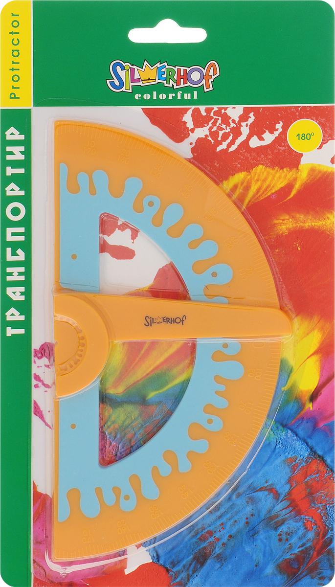 Silwerhof Транспортир Colorful 180 градусов цвет оранжевый