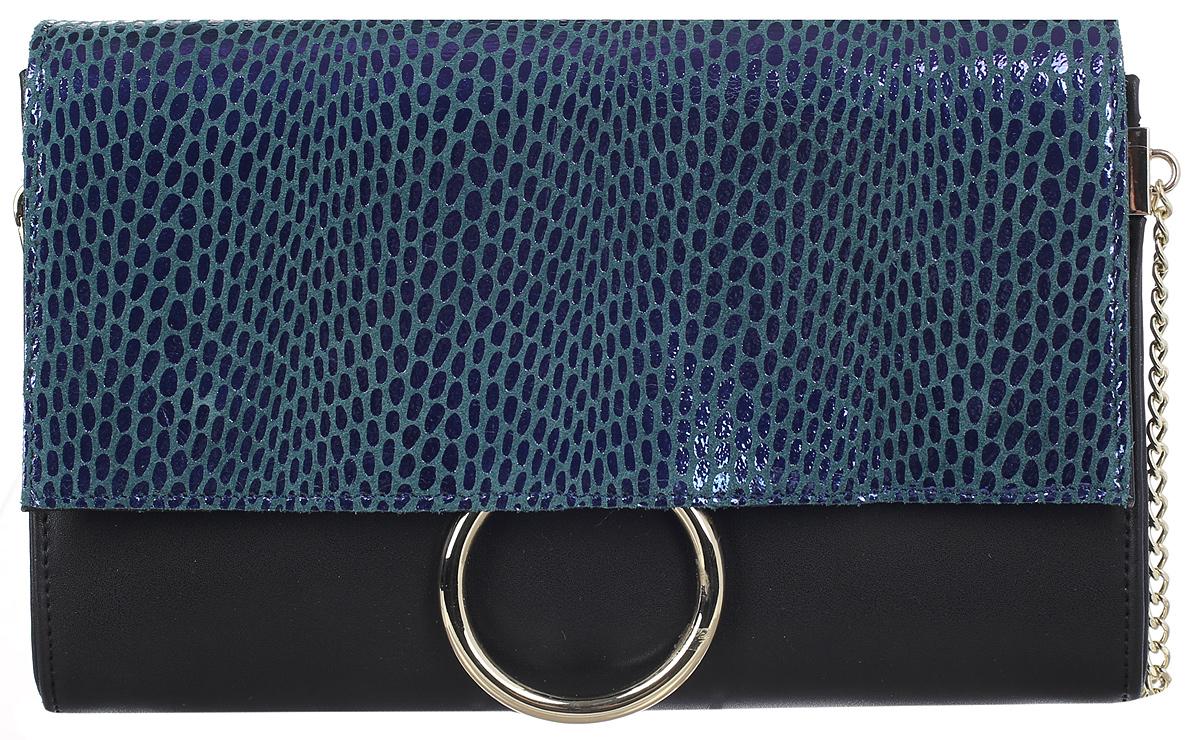 Сумка женская Flioraj, цвет: черный, морской волны. 0005250700052507Сумка Flioraj выполнена из высококачественной натуральной кожи разной текстуры. Изделие оснащено плечевым ремнем в виде цепочки. Сумка закрывается клапаном на магнитную кнопку. Внутри расположено отделение, которое содержит один карман на молнии и два накладных открытых кармана для мелочей.