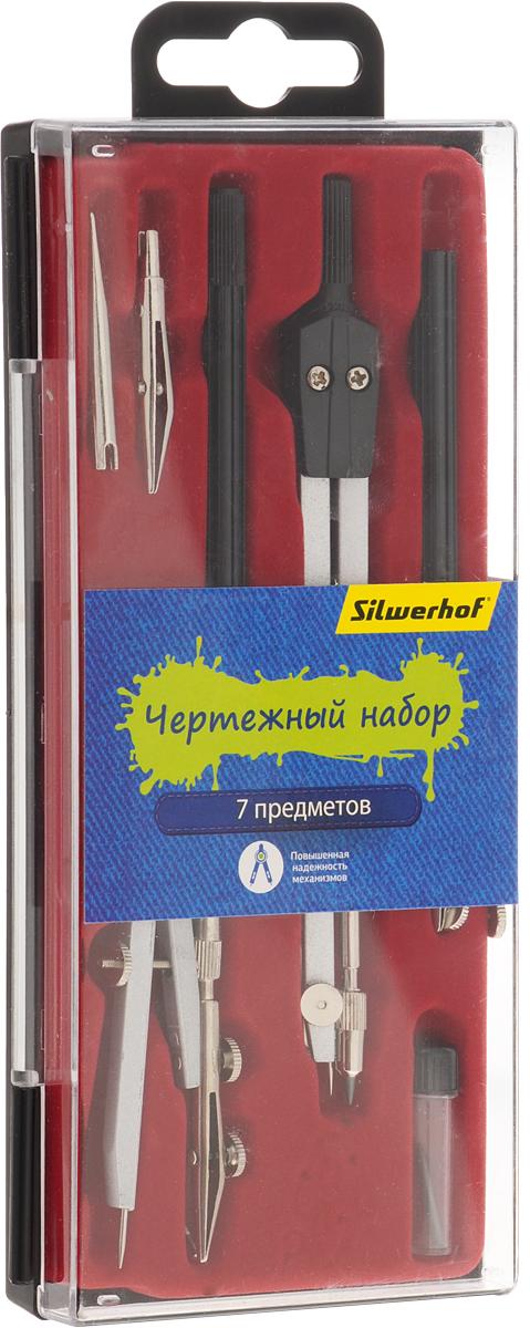 Silwerhof Готовальня Джинсовая коллекция 7 предметов540116Готовальня Silwerhof содержит циркуль, кронциркуль, грифель, рейсфедерную вставку, рейсфедерную вставку в сборе, рейсфедерную ручку, игольную вставку.
