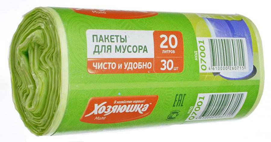 Пакеты для мусора Хозяюшка Мила, цвет: зеленый, 20 л, 30 шт07001-120Пакеты для мусора Хозяюшка Мила, выполненные из полиэтилена, обеспечивают чистоту и гигиену в квартире. Они удобны для сбора и удаления мусора, занимают мало места, практичны в использовании. Широко применяются в быту и на производстве. Специальная перфорация позволяет легко отделить пакет от рулона. Объем мешка: 20 л. Количество в упаковке: 30 шт. Длина мешка: 46,5 см.