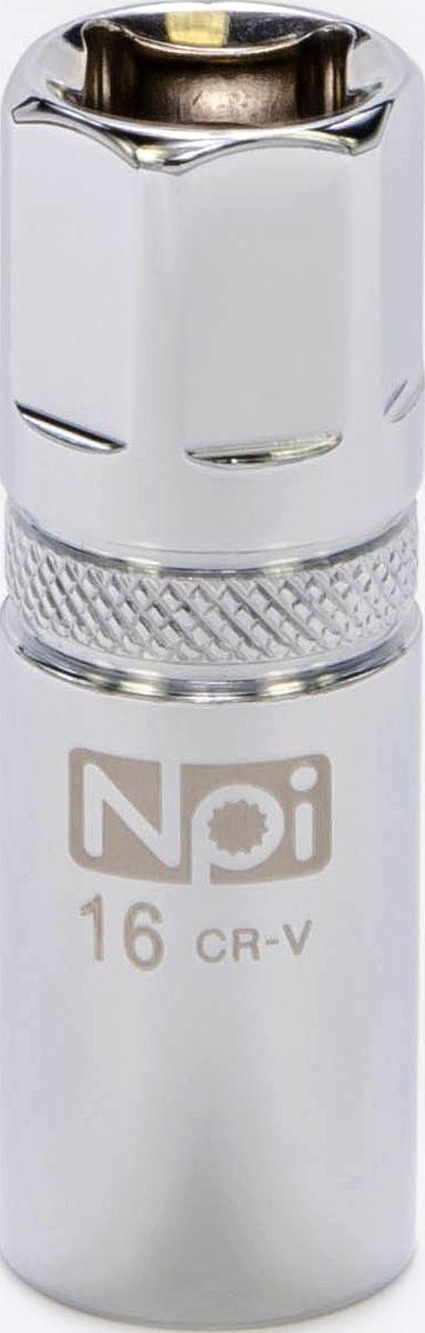 Головка торцевая свечная с магнитом NPI, 1/2, 16 мм20090Головка торцевая свечная с магнитом NPI 1/2 16мм. Тип 1/2. Свечная головка на 16 мм с впрессованным магнитом. Высота головки 65 мм. Применяются при снятии и установке свечей зажигания. Изготовлена из высокопрочной хром-ванадиевой стали. Специальные фрикционные насечки на внешней стороне головки предотвращают ее выскальзывание из рук.