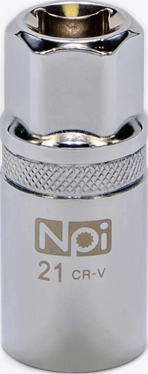 Головка торцевая свечная с магнитом NPI, 1/2, 21 мм20091Головка торцевая свечная с магнитом NPI 1/2 21мм. Тип 1/2. Свечная головка на 21 мм с впрессованным магнитом. Высота головки 68 мм. Применяются при снятии и установке свечей зажигания. Изготовлена из высокопрочной хром-ванадиевой стали. Специальные фрикционные насечки на внешней стороне головки предотвращают ее выскальзывание из рук.