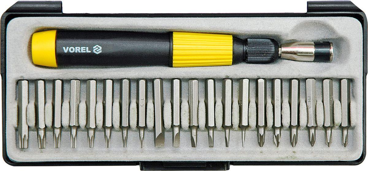 Отвертка с трещоткой Vorel, с головками и вставками60975Отвертка с трещоткой VOREL + набор головок и вставок, 29 предметов, изготовлена из инструментальной стали CrV.