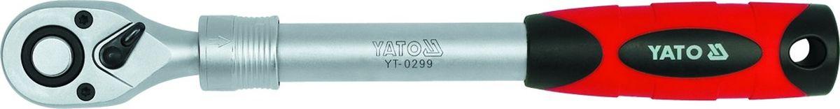 Трещотка телескопическая Yato, 1/2YT-0299Трещотка телескопическая YATO, тип 1/2, изготовлена из инструментальной стали CrV.