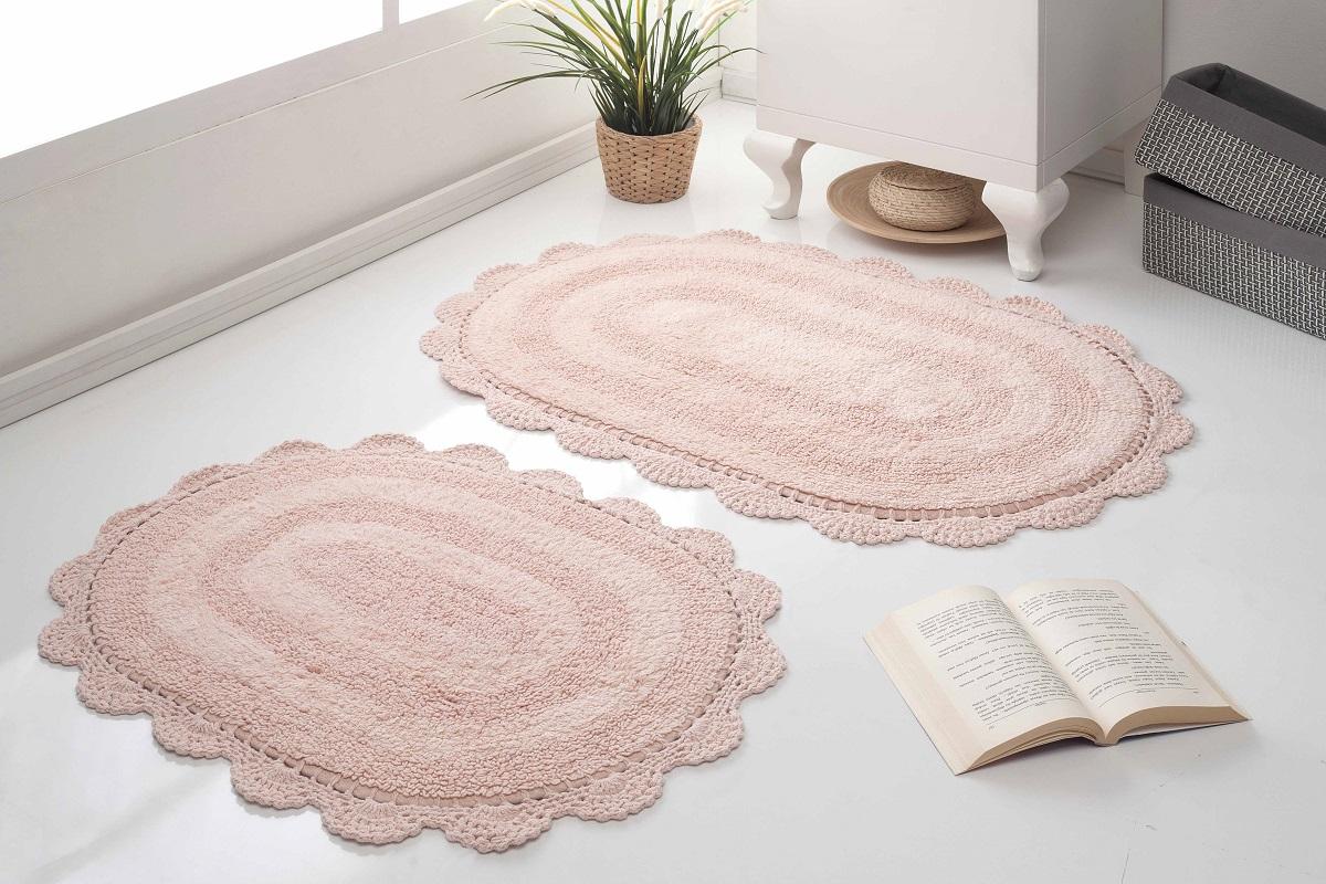 Набор ковриков для ванной Karna Modalin. Diana, цвет: пудровый, 2 шт5024/CHAR005