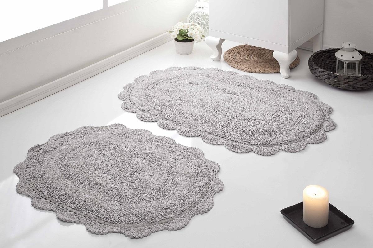 Набор ковриков для ванной Karna Modalin. Diana, цвет: серый, 2 шт5024/CHAR007