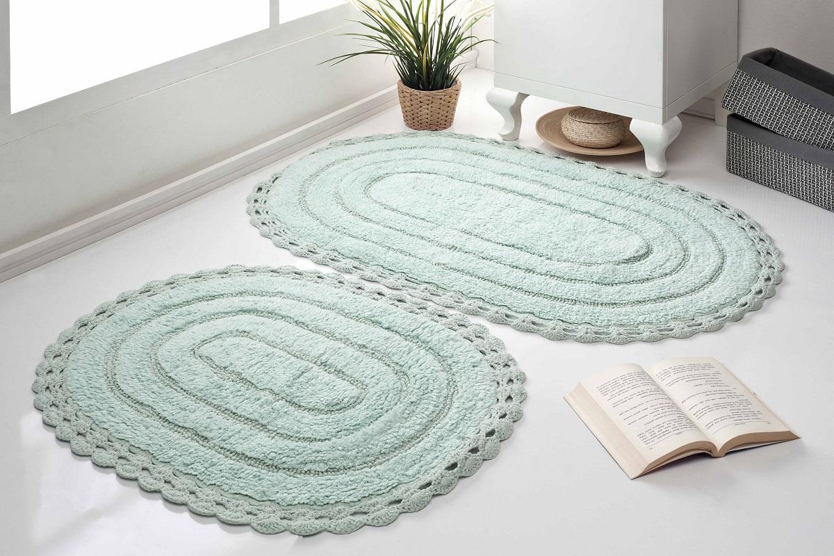 Набор ковриков для ванной Karna Modalin. Yana, цвет: ментоловый, 2 шт5026/CHAR003