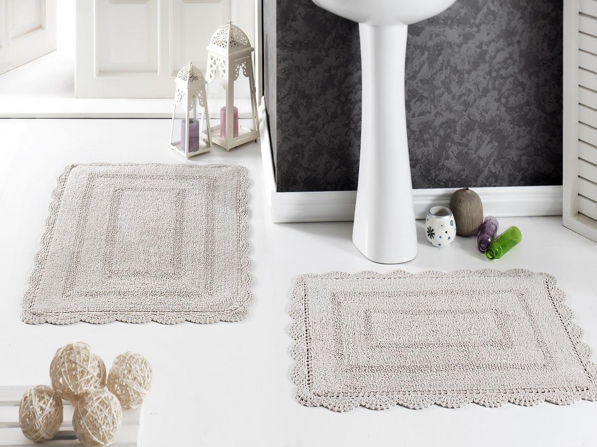 Набор ковриков для ванной Karna Modalin. Evora, цвет: бежевый, 2 шт5088/CHAR002