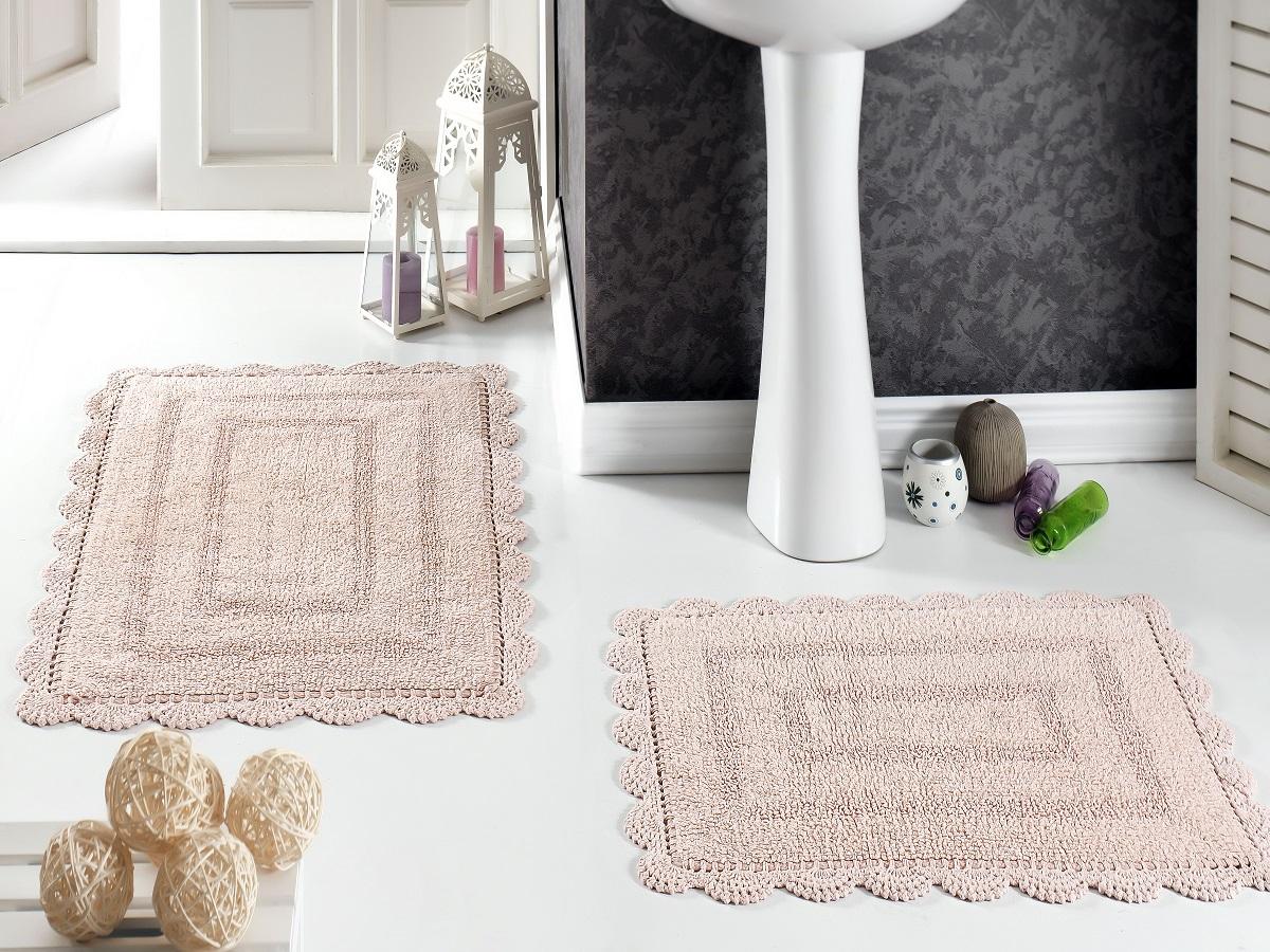 Набор ковриков для ванной Karna Modalin. Evora, цвет: пудровый, 2 шт5088/CHAR005