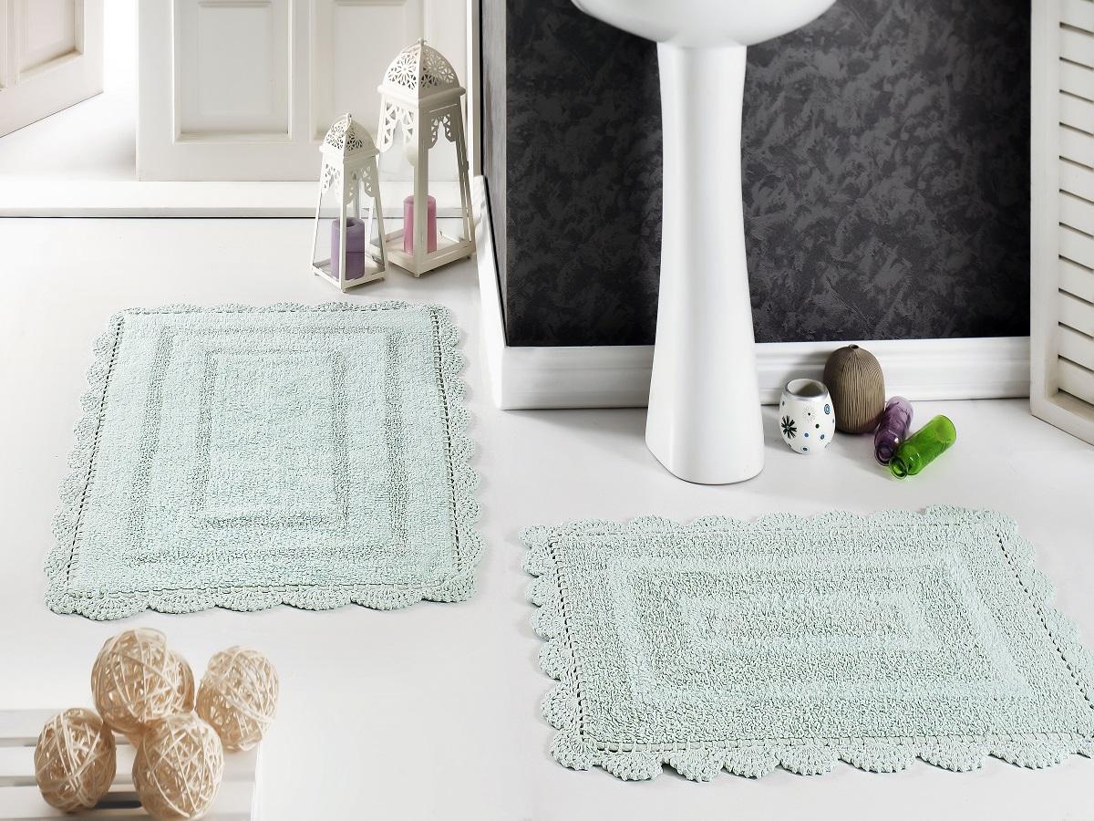 Набор ковриков для ванной Karna Modalin. Evora, цвет: светло-зеленый, 2 шт5088/CHAR006