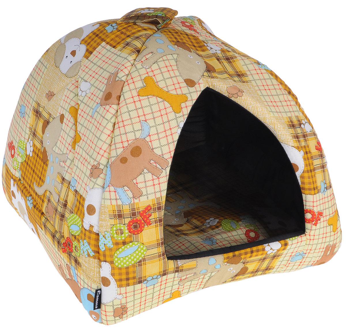 Домик для кошек и собак Гамма, цвет: бежевый, коричневый, 40 см х 40 см х 43 смДг-06000 бежевый, собакиДомик для кошек и собак Гамма обязательно понравится вашему питомцу. Домик предназначен для собак мелких пород и кошек. Изготовлен из ткани, внутри - мягкий наполнитель из мебельного поролона. Стежка надежно удерживает наполнитель внутри и не позволяет ему скатываться. Домик очень удобный и уютный, он оснащен мягкой съемной подстилкой из поролона. Ваш любимец сразу же захочет забраться внутрь, там он сможет отдохнуть и спрятаться. Компактные размеры позволят поместить домик, где угодно, а приятная цветовая гамма сделает его оригинальным дополнением к любому интерьеру. Размер подушки: 39 см х 39 см х 2 см, Внутренняя высота домика: 39 см, Толщина стенки: 2 см.