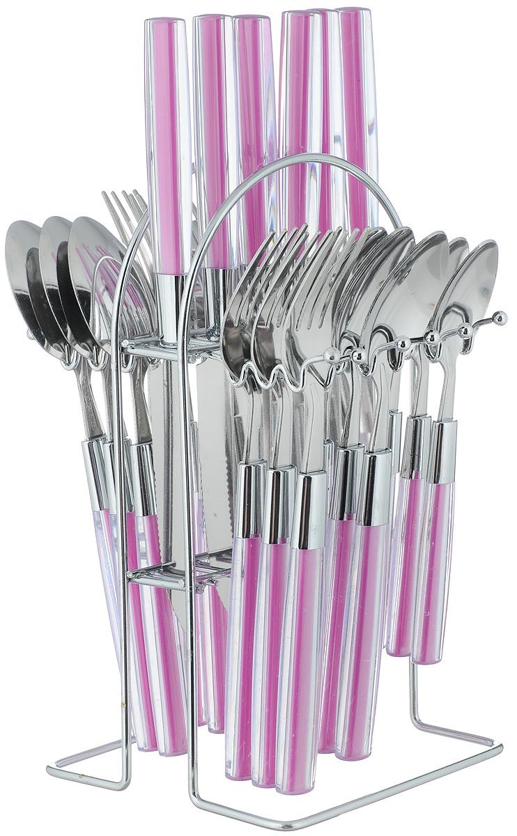 Набор столовых приборов Mayer & Boch Modern, на подставке, 25 предметов22492-1_фиолетовыйВ набор Mayer & Boch входят 25 предметов: 6 столовых ножей, 6 столовых ложек, 6 столовых вилок, 6 чайных ложек и подставка, выполненных из высококачественной нержавеющей стали и пластика. Прекрасное сочетание яркого дизайна и удобство использования предметов набора придется по душе каждому. Набор столовых приборов Mayer & Boch подойдет для сервировки стола как дома, так и на даче, а также станет замечательным подарком. Длина столовой ложки/вилки: 20,5 см. Длина чайной ложки: 16,5 см. Длина ножа: 22,5 см. Размер подставки: 12 х 13,5 х 23,5 см.