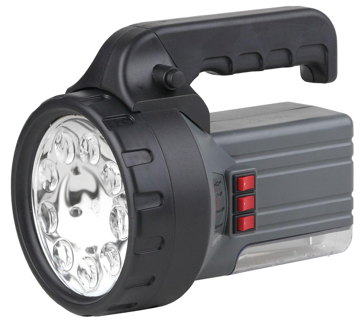 Фонарь ручной ЭРА, 9xLED, галоген 10W, люм 7W, аккумулятор 6V2.5Ah, ЗУ 220VFA55MАккумуляторный светодиодный прожектор: 9 белых LED + галогенная лампа 10W + люмлампа 7W Аккумулятор 6V 2.5Ah подзарядка от сети 220V