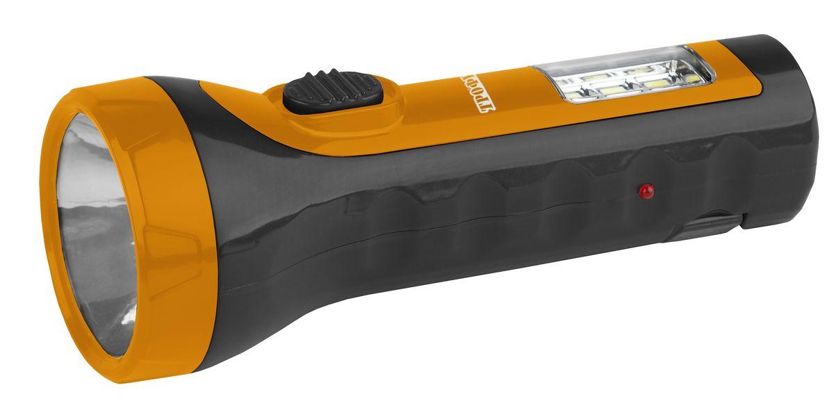 Фонарь ручной Трофи, 5xLED+6SMD, аккумулятор 4V1AhTA15Компактный аккумуляторный светодиодный фонарь 2в1: 5 светодиодов в головном фонаре 6xSMD светодиодов в светильнике аккумулятор 4V 900mAh складная евровилка 6 часов работы без подзарядки упаковка: картонная коробка