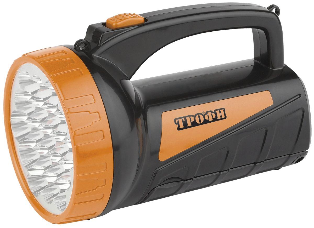Фонарь ручной Трофи, 19+18xLED, аккумулятор 4V2Ah, ЗУ 220VTSP19Аккумуляторный светодиодный фонарь со встроенным светильником: 19+18 белых LED Аккумулятор 4V 2Ah подзарядка от сети 220V