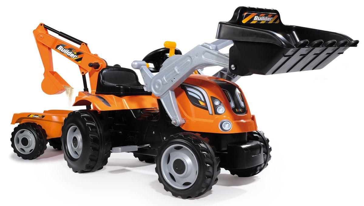 Smoby Трактор педальный строительный с 2 ковшами и прицепами