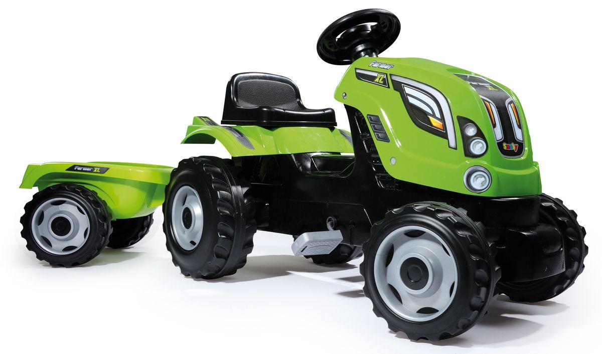 Smoby Трактор педальный XL с прицепом цвет зеленый