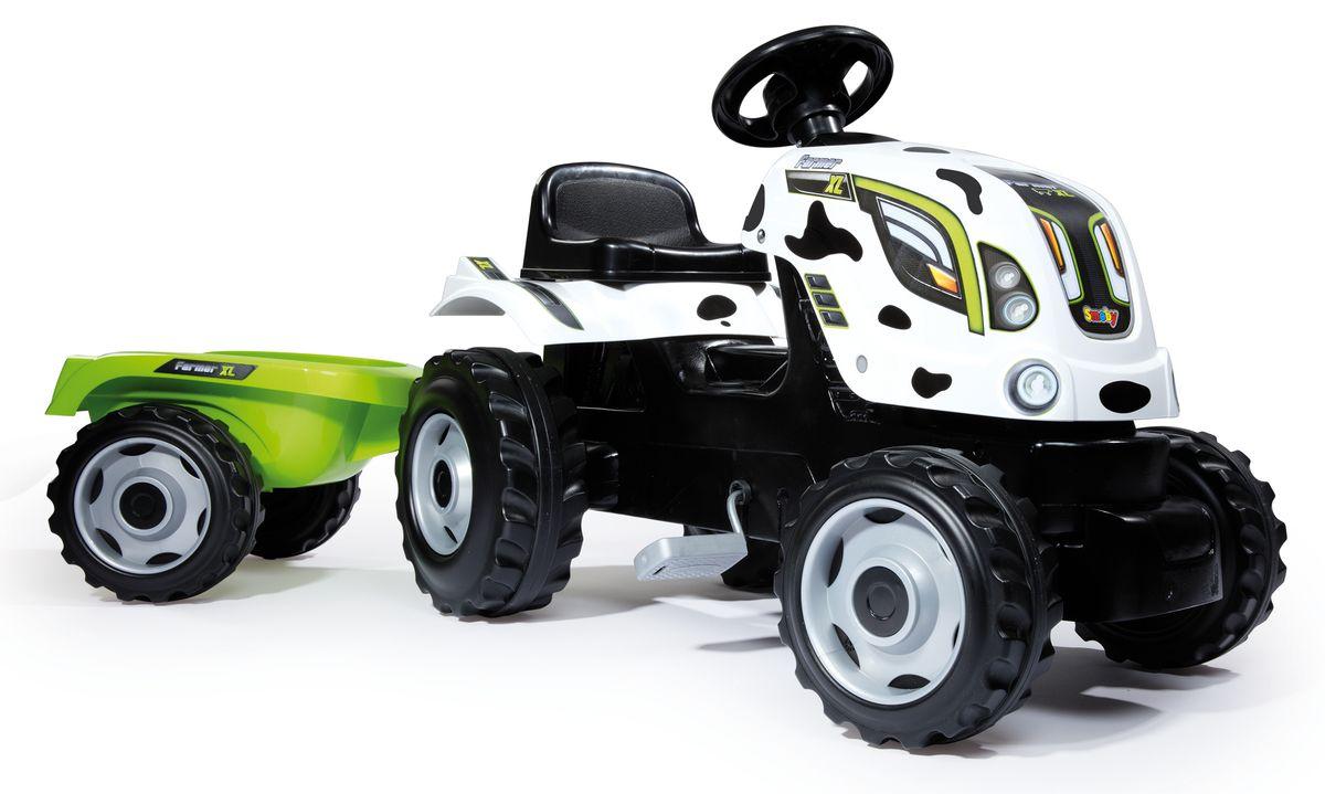 Smoby Трактор педальный XL с прицепом цвет пятнистый