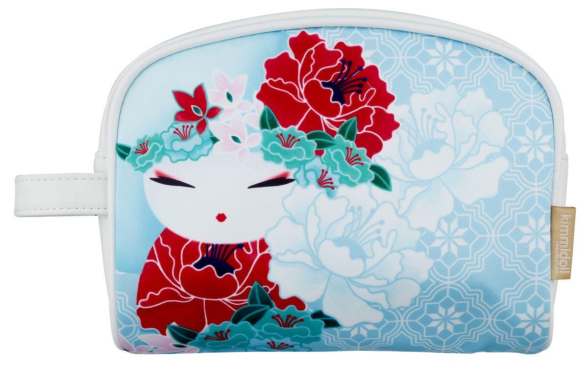Косметичка женская Kimmidoll, цвет: светло-голубой. KF1101KF1101Косметичка Kimmidoll, выполненная из искусственной кожи и сатина в традиционном японском стиле, придется по душе всем ценителям стильных вещиц. Она отлично подойдет для хранения косметики и нужных вещей. Изделие содержит одно отделение, закрывающееся на застежку-молнию. Тыльная сторона оформлена металлической пластиной с гравировкой Kimmidoll Collection. Косметичку можно использовать как пенал или дорожную аптечку.