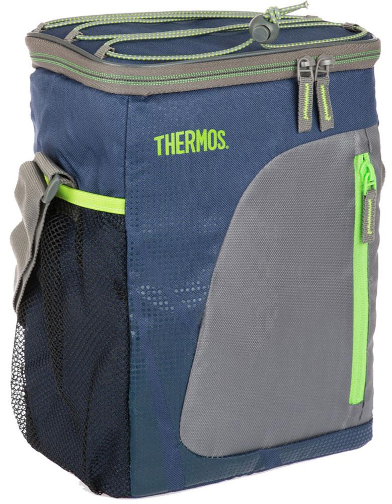 Термосумка Thermos Radiance 12 Can Cooler, цвет: синий, серый, 9 л488596Термо-сумки отличается легкостью и компактностью. Все сумки складываются и фиксируются в сложенном положении что облегчает хранение. Внутреннее наполнение стенок позволяет сохранять продукты замороженными, свежими или теплыми длительное время. Внутренняя поверхность PEVA обладает 100% герметичностью. При перевозке жидкостей это позволяет избежать протеканий.