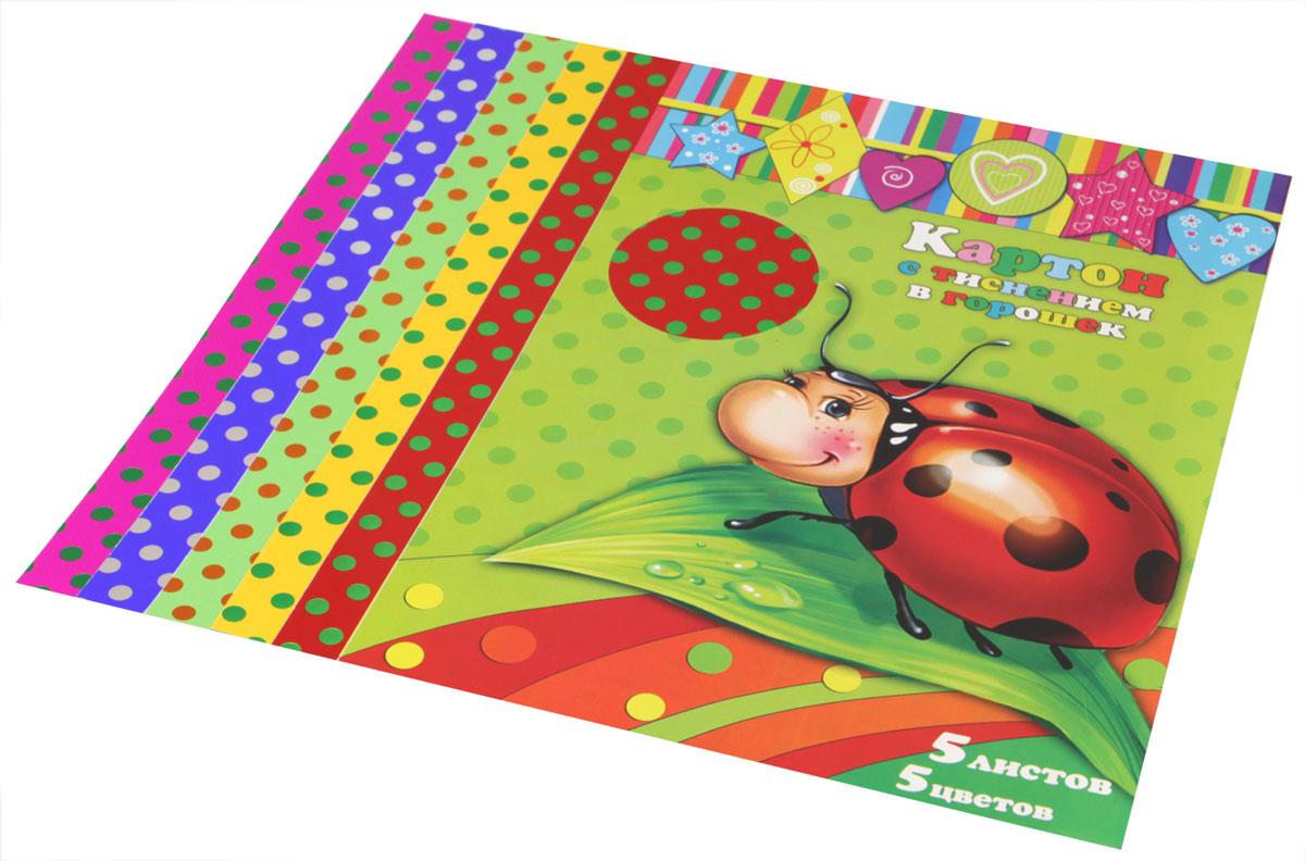 Феникс+ Цветной картон с тиснением в горошек 5 листов34000Цветной картон с тиснением в горошек Феникс+ формата А4 идеально подходит для детского творчества. В упаковке пять листов цветного картона с тиснением в горошек пяти различных цветов - красного, желтого, зеленого, синего и малинового. Детские аппликации из цветного картона - отличное занятие для развития творческих способностей и познавательной деятельности малыша, а также хороший способ самовыражения ребенка.