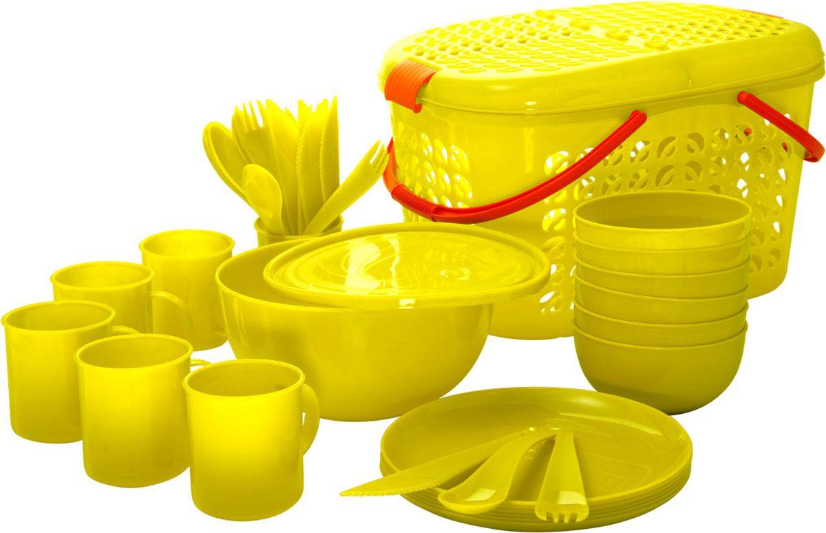 Набор для пикника Plastic Centre, цвет: желтый, на 6 персонПЦ1842ЛМННабор для пикника на 6 персон – это все, что нужно для организации загородной поездки. Легкую посуду удобно взять с собой. Яркие цвета и привлекательный дизайн создадут уютную атмосферу и дополнят радостные моменты на природе. Прочный пластик подходит для многократного использования. Корзина-переноска позволит вместить не только сам набор, но и еду для пикника. Комплектация: корзина-переноска, 1 большая миска, 6 маленьких мисок, 6 тарелок, 6 кружек, столовые приборы.