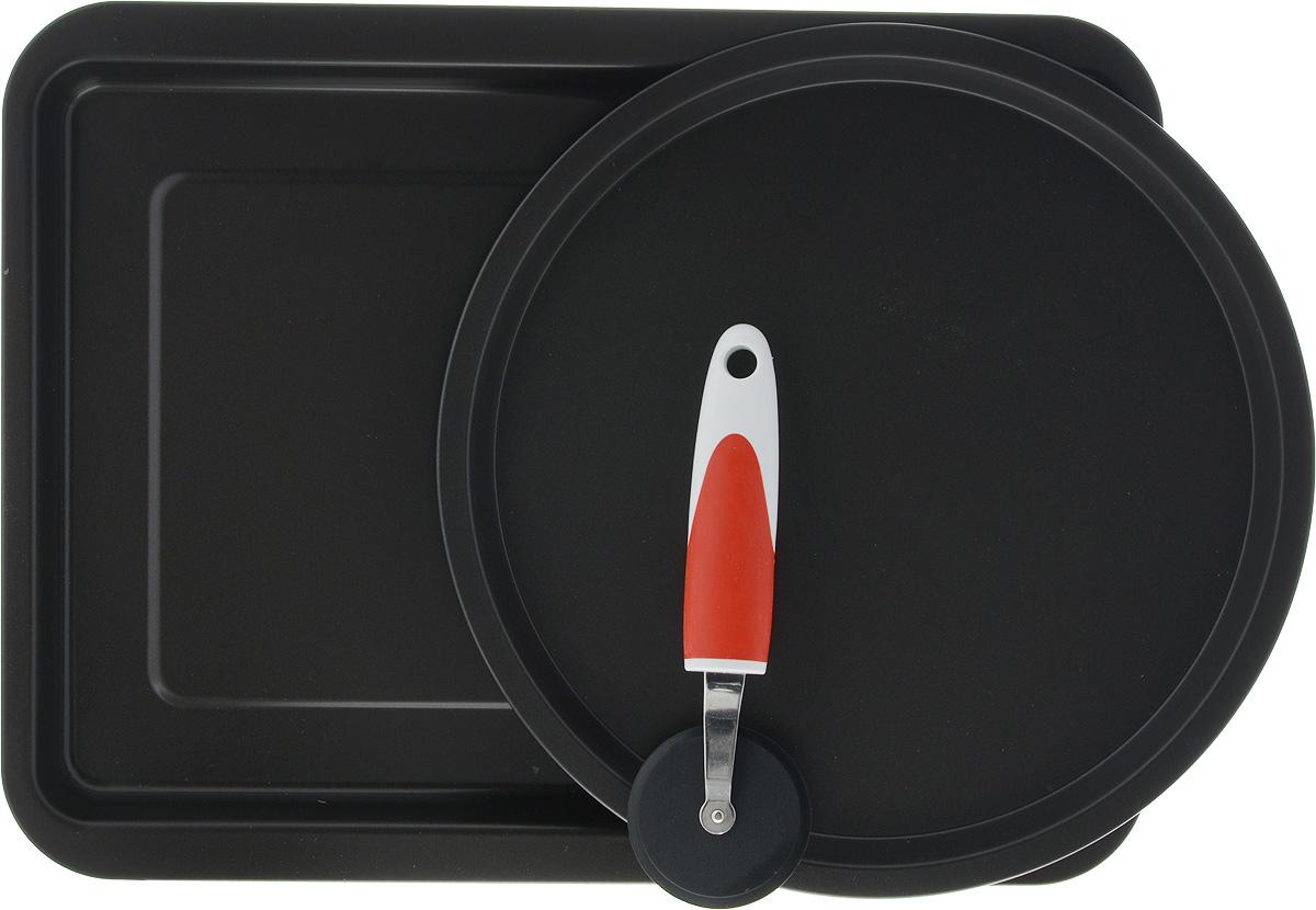 Набор для пиццы Ballarini, с антипригарным покрытием, 3 предмета1A0000.2 015899Набор Ballarini, состоит из двух форм для приготовления пиццы - прямоугольной и круглой, в комплекте присуствует специальный нож для пиццы. Формы выполнены из стали с антипригарным покрытием. Покрытие экологично, не содержит фтора, исключает пригорание даже при отсутствии масла, устойчиво к царапинам и повреждениям. Антипригарное покрытие не содержит вредных материалов, изготавливается без PFOA, тяжелых металлов и никеля. Формы можно использовать в духовке до 250С. Нож для пиццы выполнен из пластика, резины и металла. Он поможет вам легко разрезать пиццу на ровные куски. Нож имеет отверствие на ручке, за которое можно повесить в удобное для вас место. Благодаря крепкой ручке и широкому круглому лезвию, нож для пиццы безопасен и удобен в использовании. При уходе за изделием не используйте абразивные губки и моющие средства или средства для очистки духовок. Прекрасное приобретение или замечательный подарок хозяйке. ...