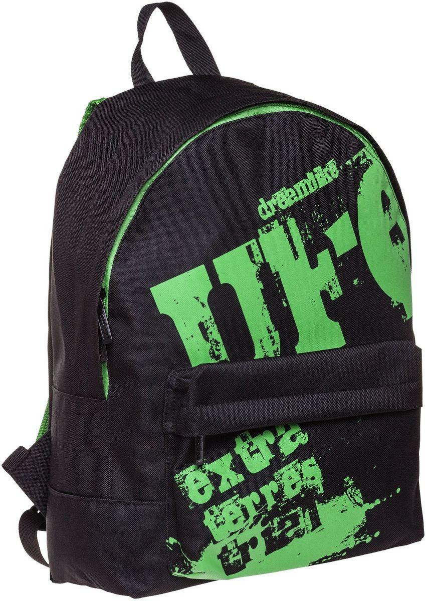 Hatber Рюкзак Basic UFONRk_19079Рюкзак Hatber Basic UFO - это современный молодежный рюкзак, отличающийся легкостью и вместительностью. Изделие выполнено из полиэстера. Рюкзак имеет одно основное отделение на застежке-молнии. Внутри расположен карман для тетрадей, на лицевой стороне - накладной карман на молнии. Текстильная ручка обеспечивает возможность переноски рюкзака в одной руке. Уплотненные спинка и лямки гарантируют комфорт при любых обстоятельствах. Усиленное основание повышает износостойкость дна рюкзака.