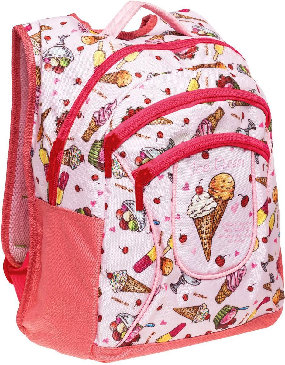 """Hatber Рюкзак Basic Plus Ice CreamNRk_19080Стильный рюкзак для повседневного использования. Два вместительных отделения, передний карман на молнии, дополнительный карман внутри основного отделения. Уплотненные спинка, дно и лямки в виде """"маечки"""". Материал - полиэстер. Размер 30 х 38 х 15 см."""