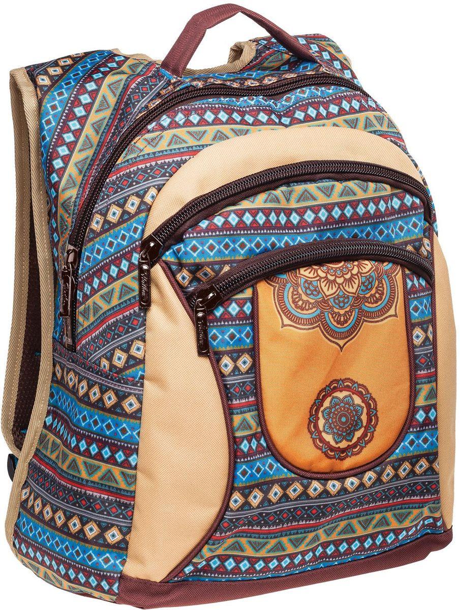 """Hatber Рюкзак Basic Plus ЭтническийNRk_19081Стильный рюкзак для повседневного использования. Два вместительных отделения, передний карман на молнии, дополнительный карман внутри основного отделения. Уплотненные спинка, дно и лямки в виде """"маечки"""". Материал - полиэстер. Размер 30 х 38 х 15 см."""