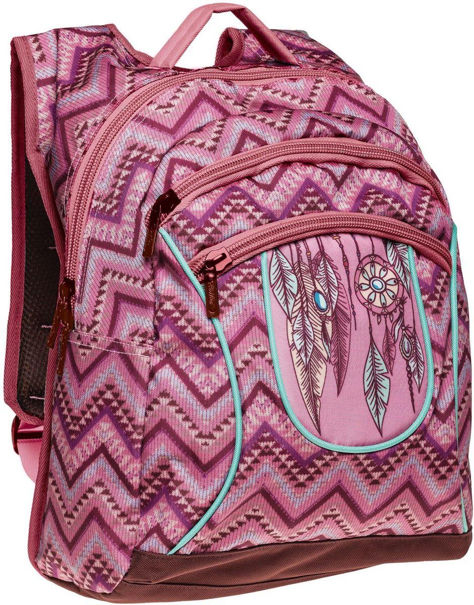 """Hatber Рюкзак Basic Plus Ловушка для сновNRk_19082Стильный рюкзак для повседневного использования. Два вместительных отделения, передний карман на молнии, дополнительный карман внутри основного отделения. Уплотненные спинка, дно и лямки в виде """"маечки"""". Материал - полиэстер. Размер 30 х 38 х 15 см."""