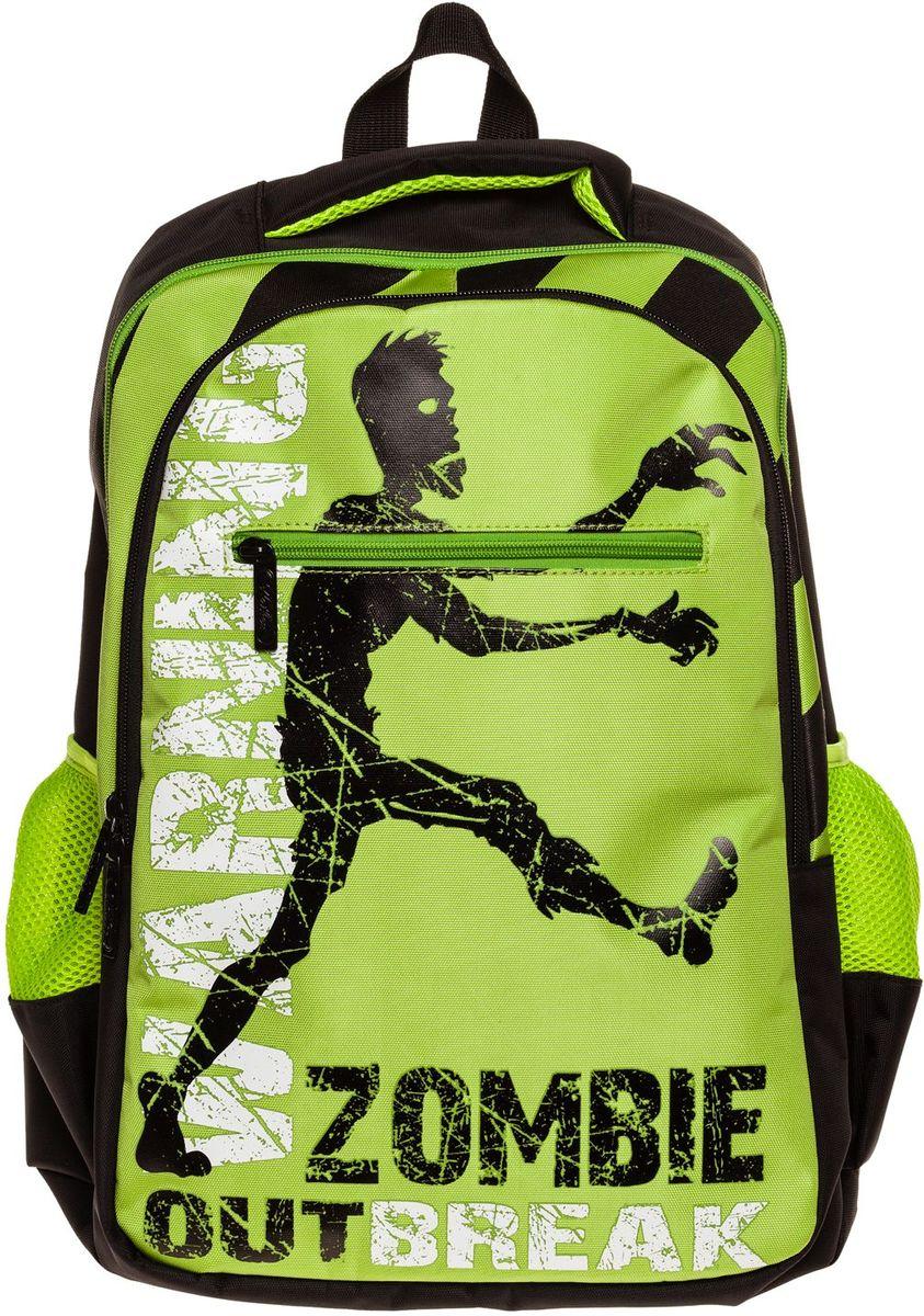 Hatber Рюкзак Basic Style ZombieNRk_19095Рюкзак Hatber Basic Style Zombie - это стильный молодежный рюкзак, отличающийся удобством и вместительностью. Изделие выполнено из полиэстера и оформлено принтом с изображением зомби. Рюкзак имеет 2 вместительных отделения, закрывающихся на застежку-молнию. В основном отделении расположен карман для тетрадей. Снаружи имеется 3 кармана: спереди - 1 карман на молнии, на боковых сторонах - 2 сетчатых кармана. Текстильная ручка обеспечивает возможность переноски рюкзака в одной руке. Дно и спинка изделия уплотнены. S-образная форма лямок отвечает за более плотную фиксацию рюкзака, предотвращая перенапряжение мышц спины.