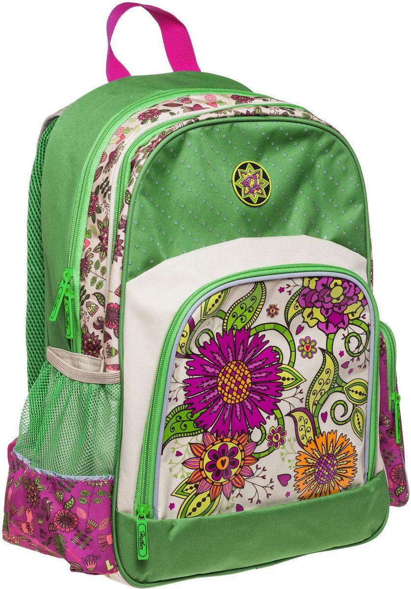 Hatber Рюкзак Soft Цветочный орнаментNRk_16060Серия Soft - это облегченный рюкзак из прочного полиэстера для детей младшего и среднего школьного возраста. Имеет 2 отделения, большой передний карман на молнии и 2 боковы х кармана. Размер 41 х 29 х 14 см.