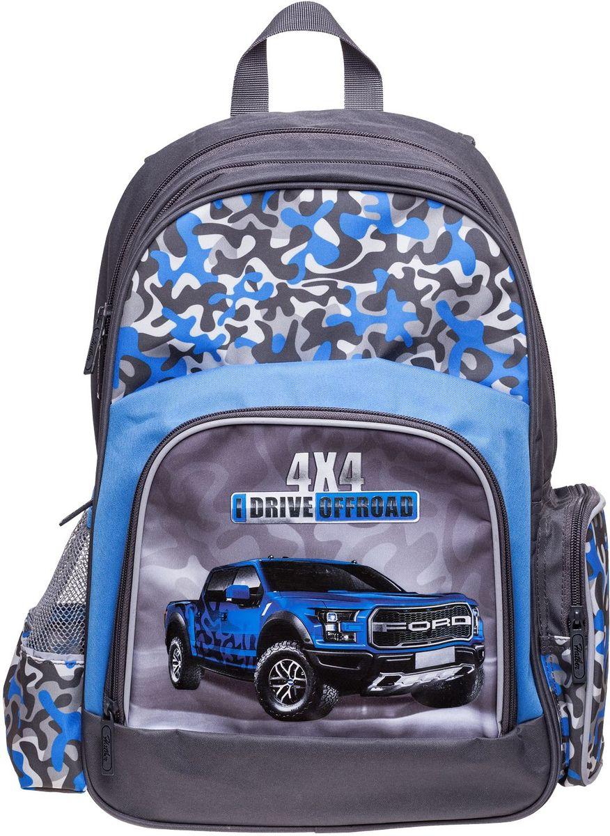 Hatber Рюкзак Soft ВнедорожникNRk_16061Серия Soft - это облегченный рюкзак из прочного полиэстера для детей младшего и среднего школьного возраста. Имеет 2 отделения, большой передний карман на молнии и 2 боковы х кармана. Размер 41 х 29 х 14 см.