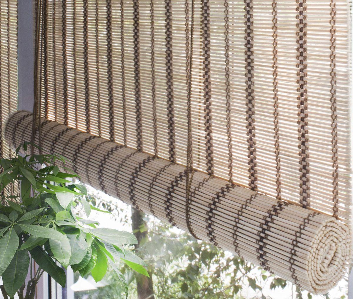 Штора рулонная Эскар Бамбук, цвет: золотой беж, ширина 80 см, высота 160 см7014080160При оформлении интерьера современных помещений многие отдают предпочтение природным материалам. Бамбуковые рулонные шторы - одно из натуральных изделий, способное сделать атмосферу помещения более уютной и в то же время необычной. Свойства бамбука уникальны: он экологически чист, так как быстро вырастает, благодаря чему не успевает накопить вредные вещества из окружающей среды. Кроме того, растение обладает противомикробным и антибактериальным действием. Занавеси из бамбука безопасно использовать в помещениях, где находятся новорожденные дети и люди, склонные к аллергии. Они незаменимы для тех, кто заботится о своем здоровье и уделяет внимание высокому уровню жизни. Бамбуковые рулонные шторы представляют собой полотно, состоящее из тонких бамбуковых стеблей и сворачиваемое в рулон. Римские бамбуковые шторы, как и тканевые римские шторы, при поднятии образуют крупные складки, которые прекрасно декорируют окно. Особенность устройства полотна позволяет свободно пропускать...