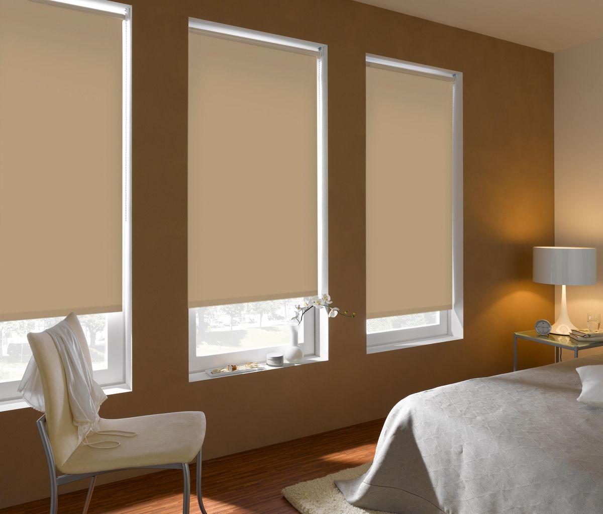 Штора рулонная Эскар Blackout, светонепроницаемая, цвет: бежевый, ширина 80 см, высота 170 см84009080170Рулонными шторами можно оформлять окна как самостоятельно, так и использовать в комбинации с портьерами. Это поможет предотвратить выгорание дорогой ткани на солнце и соединит функционал рулонных с красотой навесных. Преимущества применения рулонных штор для пластиковых окон: - имеют прекрасный внешний вид: многообразие и фактурность материала изделия отлично смотрятся в любом интерьере; - многофункциональны: есть возможность подобрать шторы способные эффективно защитить комнату от солнца, при этом она не будет слишком темной. - Есть возможность осуществить быстрый монтаж. ВНИМАНИЕ! Размеры ширины изделия указаны по ширине ткани! Во время эксплуатации не рекомендуется полностью разматывать рулон, чтобы не оторвать ткань от намоточного вала. В случае загрязнения поверхности ткани, чистку шторы проводят одним из способов, в зависимости от типа загрязнения: легкое поверхностное загрязнение можно удалить при...