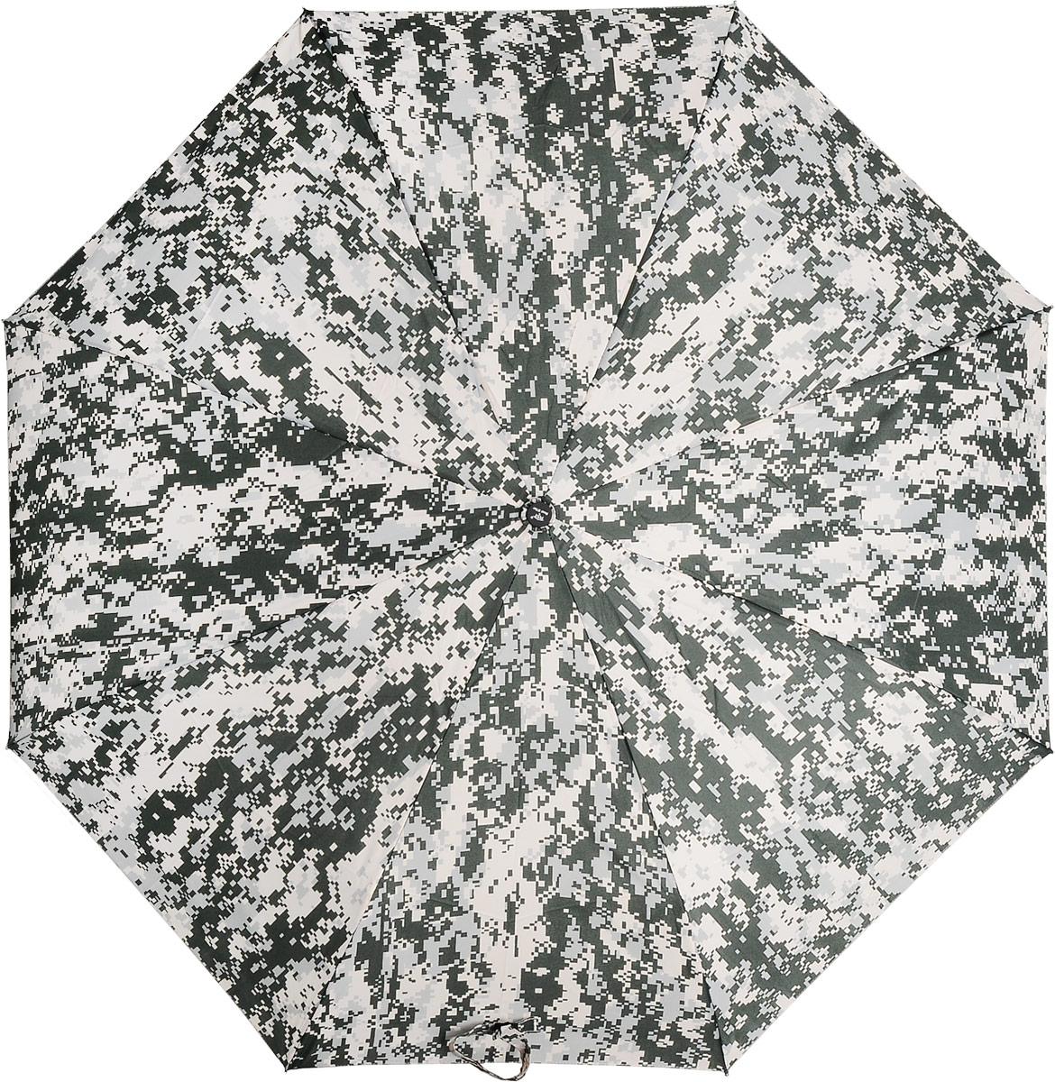 Зонт Эврика, цвет: зеленый, белый. 9784197841Автоматический зонт двойного сложения с куполом из ткани защитной расцветки – настоящий подарок для мужчин! Крепкие широкие спицы с системой анти-ветер, прочный металлический стержень, ручка из пластика, препятствующего скольжению, растягивающаяся наручная петля, удобные кнопки складывания и раскладывания, стильный чехол из той же ткани с сеточкой и карабином для крепления зонта – все эти детали подтверждают высокое качество изделия. Размер в сложенном состоянии: 30 х 6 см. Размер купола: 105 см. Длина штока в разложенном виде: 60 см.