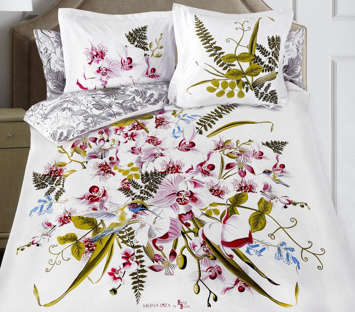 Комплект белья Mona Liza Orchid, 2-спальное, наволочки 50x70 и 70x70, цвет: белый. 8/58/5Флоральные мотивы редких экзотических цветов, переведенные в паттерн, позаимствованы из путешествий по тропическим лесам, будоражат воображение природными сочетаниями цветовых палитр и роскошью принтов. Коллекция принесет в ваш дом незабываемое настроение и добавит колорит. Высококачественный сатин окутает и позволит раствориться в мечтах о дальних жарких странах и окунуться во время вечного лета!