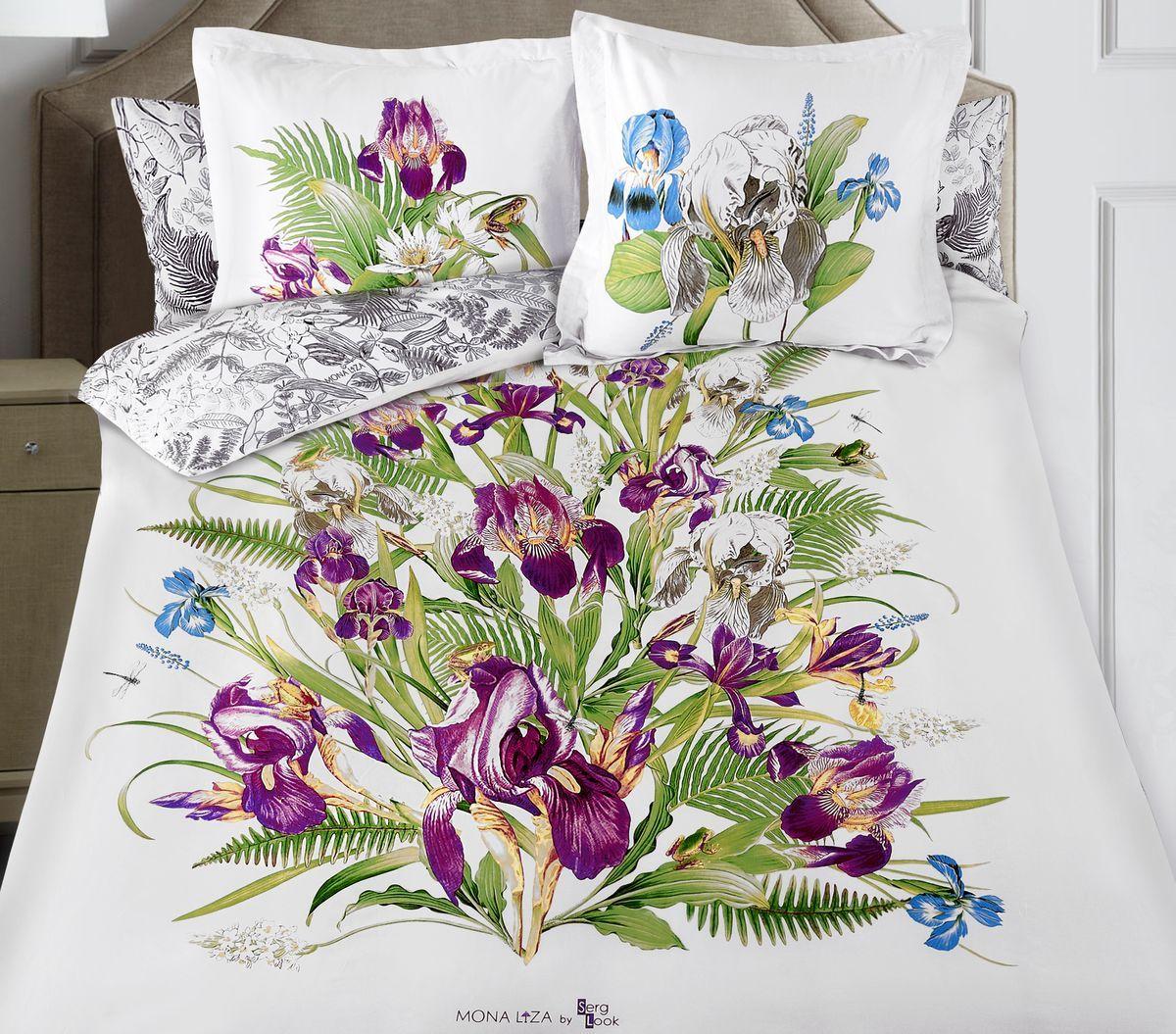 Комплект белья Mona Liza Iris, 2-спальное, наволочки 50x70 и 70x70, цвет: белый. 8/78/7Флоральные мотивы редких экзотических цветов, переведенные в паттерн, позаимствованы из путешествий по тропическим лесам, будоражат воображение природными сочетаниями цветовых палитр и роскошью принтов. Коллекция принесет в ваш дом незабываемое настроение и добавит колорит. Высококачественный сатин окутает и позволит раствориться в мечтах о дальних жарких странах и окунуться во время вечного лета!