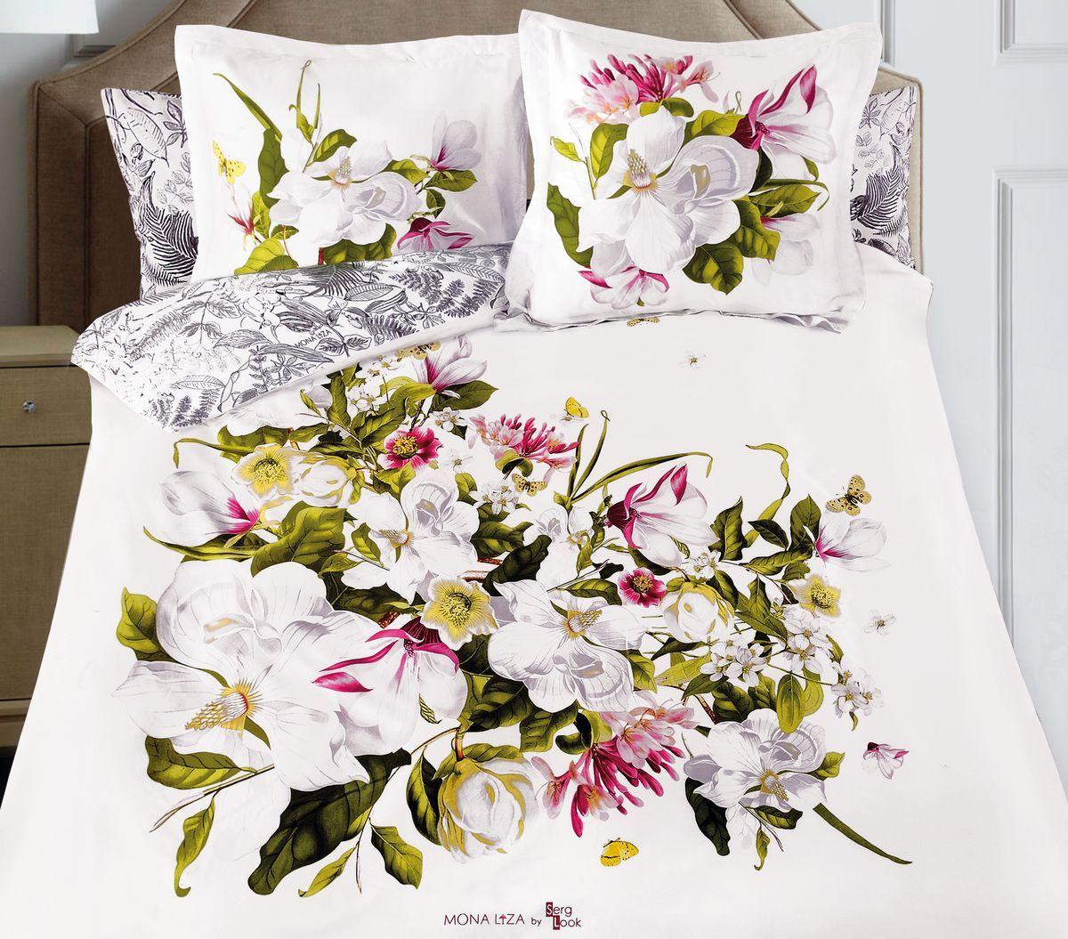Комплект белья Mona Liza Magnolia, 2-спальное, наволочки 50x70 и 70x70, цвет: белый. 8/88/8Флоральные мотивы редких экзотических цветов, переведенные в паттерн, позаимствованы из путешествий по тропическим лесам, будоражат воображение природными сочетаниями цветовых палитр и роскошью принтов. Коллекция принесет в ваш дом незабываемое настроение и добавит колорит. Высококачественный сатин окутает и позволит раствориться в мечтах о дальних жарких странах и окунуться во время вечного лета!