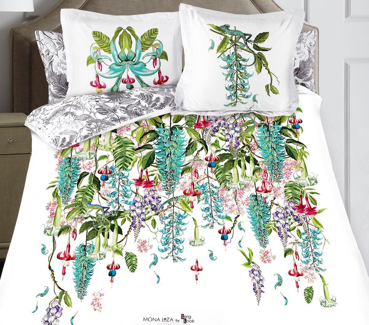 Комплект белья Mona Liza Jade, евро, наволочки 50x70 и 70x70, цвет: белый. 9/69/6Флоральные мотивы редких экзотических цветов, переведенные в паттерн, позаимствованы из путешествий по тропическим лесам, будоражат воображение природными сочетаниями цветовых палитр и роскошью принтов. Коллекция принесет в ваш дом незабываемое настроение и добавит колорит. Высококачественный сатин окутает и позволит раствориться в мечтах о дальних жарких странах и окунуться во время вечного лета!