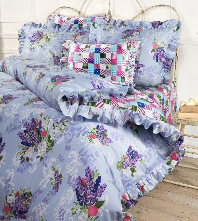 Комплект белья Mona Liza Lavender, евро, наволочки 50x70 и 70x70, цвет: сиреневый. 5749/35749/3Несомненно коллекция оригинальна и все в ней продумано до мелочей. Особого внимания заслуживают оборки и кружево на наволочках и оборки на пододеяльниках. Эта деталь делает коллекцию более романтичной и милой.