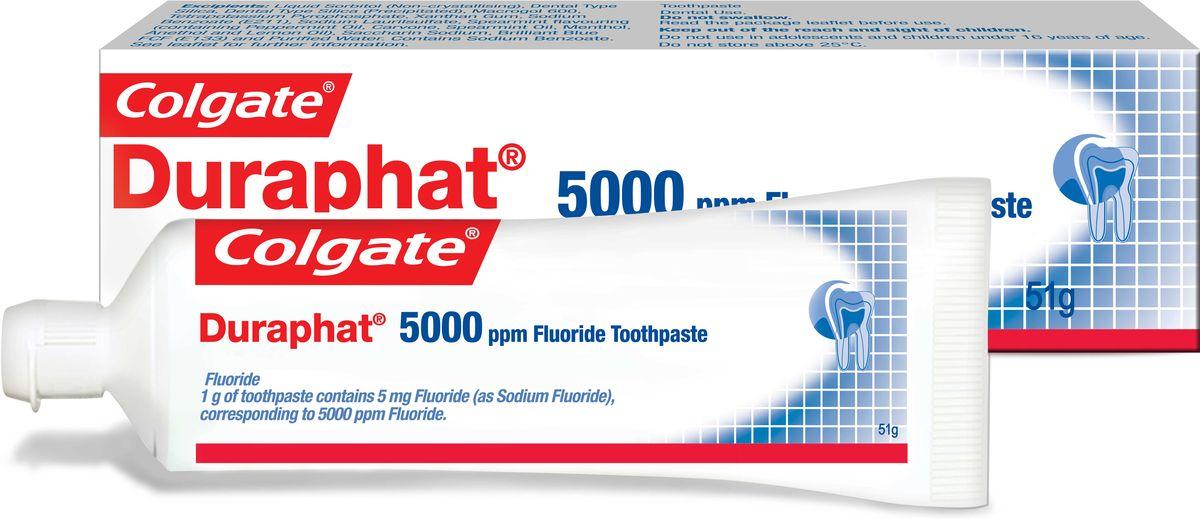 Colgate Зубная паста Duraphat 5000ppm 51мл0401533801Зубная паста 51мл - 1шт В 3,6 раза более эффективно останавливает кариес на начальных стадиях по сравнению с обычной зубной пастой, оптимальный режим использования: 3 раза в день вместо обычной зубной пасты в течение, 3 месяцев. После этого рекомендуется повторный осмотр у стоматолога для определения необходимости дальнейшего использования