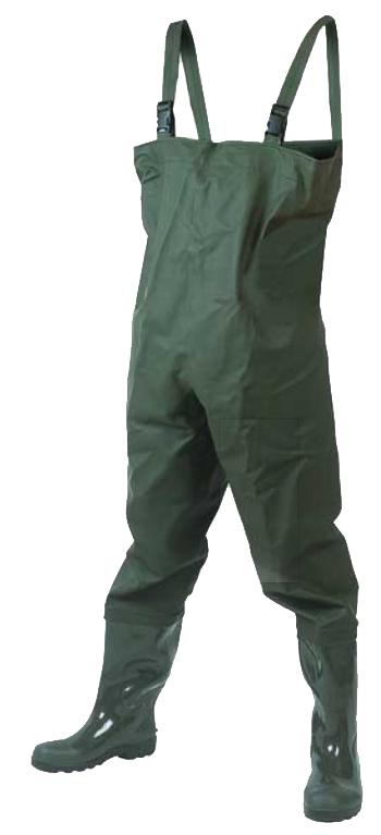 Полукомбинезон рыбацкий мужской Вездеход, цвет: оливковый. СВ-17ПР. Размер 426-4-046Низ полукомбинезона производится путем литья ПВХ под давлением, что гарантирует его полную водонепроницаемость и высокую износостойкость, применение сырья высокого качества позволяет использовать обувь не только в теплое время года, но и во время небольших заморозков, до -5°С. Верх сапога изготавливается из прочной ткани с нанесенным водонепроницаемым слоем ПВХ. Все швы делаются методом сварки с применением токов высокой частоты, что гарантирует полную защиту от влаги. В целом верх сапога изготовленный таким методом остается максимально крепким при достаточно высокой эластичности, обеспечивая тем самым максимальный комфорт при носке.