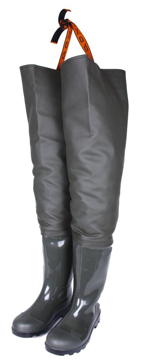 Сапоги для рыбалки мужские Вездеход, цвет: оливковый. СВ-17Р. Размер 456-5-100Рыбацкие сапоги выполнены на современном итальянском оборудовании. Низ сапога производится путем литья ПВХ под давлением, что гарантирует его полную водонепроницаемость и высокую износостойкость, применение сырья высокого качества позволяет использовать нашу обувь не только в теплое время года, но и во время небольших заморозков. Верх сапога изготавливается из прочной ткани с нанесенным водонепроницаемым слоем ПВХ. Все швы делаются методом сварки с применением токов высокой частоты, что гарантирует полную защиту от влаги. В целом верх сапога изготовленный таким методом остается максимально крепким при достаточно высокой эластичности, обеспечивая тем самым максимальный комфорт при носке.