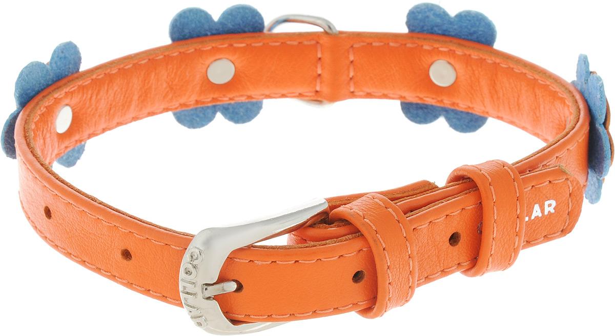 Ошейник для собак CoLLaR Glamour Аппликация, цвет: оранжевый, голубой, ширина 1,5 см, обхват шеи 27-36 см35014Ошейник CoLLaR Glamour изготовлен из натуральной кожи, устойчивой к влажности и перепадам температур. Клеевой слой, сверхпрочные нити, крепкие металлические элементы делают ошейник надежным и долговечным. Изделие декорировано аппликациями в виде цветочков. Размер ошейника регулируется при помощи металлической пряжки. Имеется металлическое кольцо для крепления поводка. Ваша собака тоже хочет выглядеть стильно! Такой модный ошейник станет для питомца отличным украшением и выделит его среди остальных животных. Изделие отличается высоким качеством, удобством и универсальностью. Обхват шеи: 27-36 см. Ширина: 1,5 см.