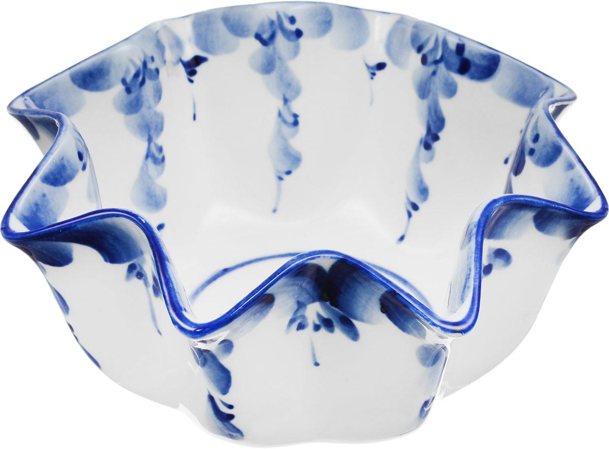 "Салатник ""Лотос"", цвет: белый, синий, 16 см х 16 см. 993165201"