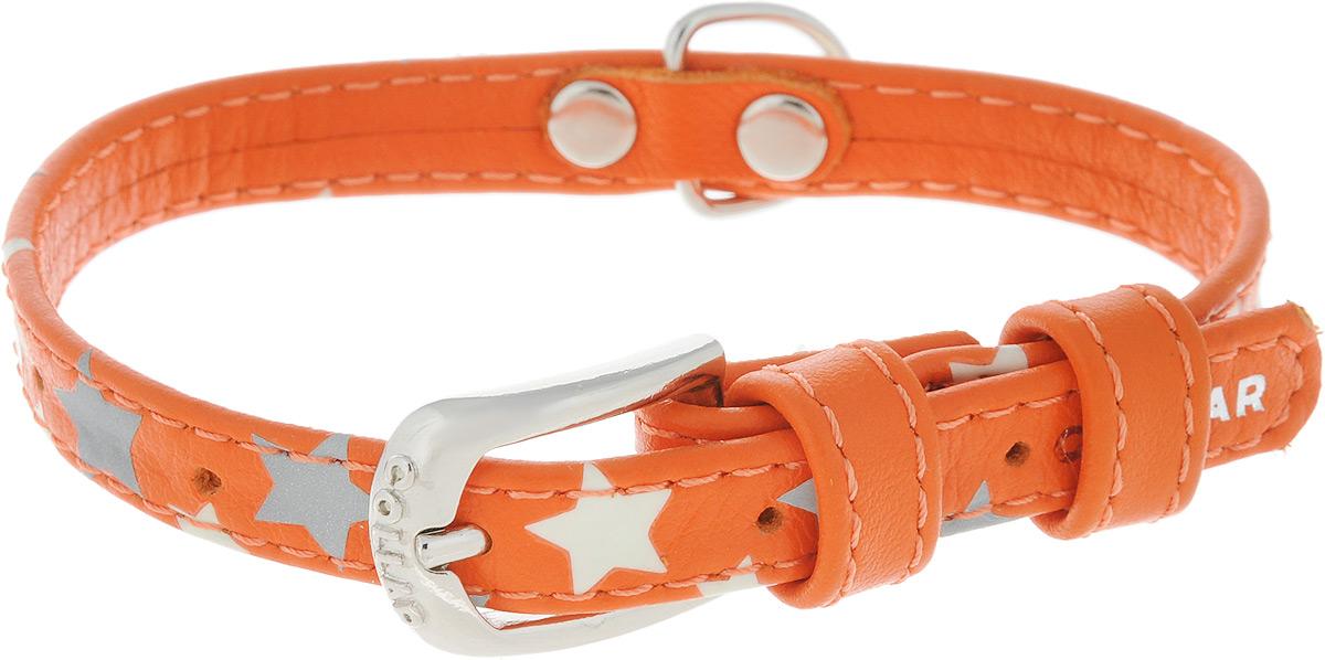 Ошейник для собак CoLLaR Glamour Звездочка, цвет: оранжевый, ширина 1,2 см, обхват шеи 21-29 см35844Ошейник для собак CoLLaR Glamour Звездочка изготовлен из натуральной кожи и декорирован оригинальным рисунком. Специальная технология печати по коже позволяет наносить на ошейник устойчивый рисунок, обладающий одновременно светоотражающим и светонакопительным эффектом. Ошейник устойчив к влажности и перепадам температур. Сверхпрочные нити, крепкие металлические элементы делают ошейник надежным и долговечным. Обхват ошейника регулируется при помощи пряжки. Ошейник оснащен металлическим кольцом для крепления поводка. Изделие отличается высоким качеством, удобством и универсальностью. Минимальный обхват шеи: 21 см. Максимальный обхват шеи: 29 см. Ширина ошейника: 1,2 см.