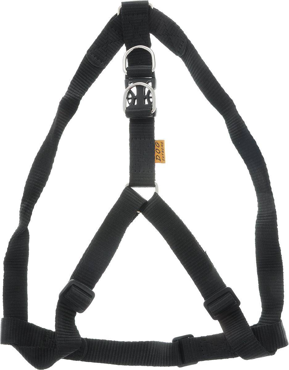 Шлейка Dog Extremе нейлоновая регулируемая, цвет: черный, ширина 25 мм, обхват груди: 60-90 см06681Шлея Dog Extremе нейлоновая регулируемая (ширина 25мм, В:60-90см) чёрная